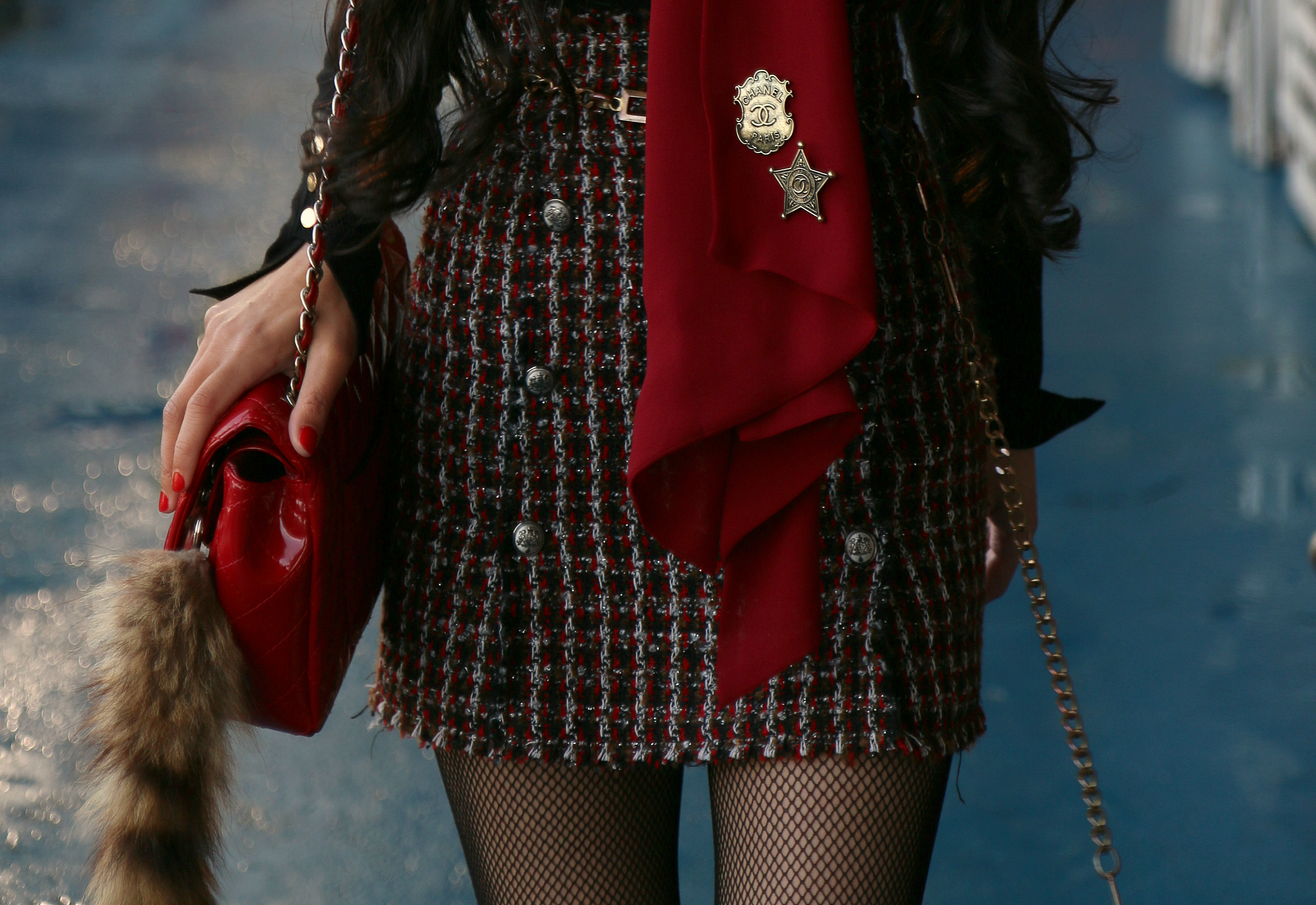 NYC Blogger Annamaria Stewart in Zara Tweed Mini Skirt with Nautical Buttons, and Chanel Brooches Dallas Collection